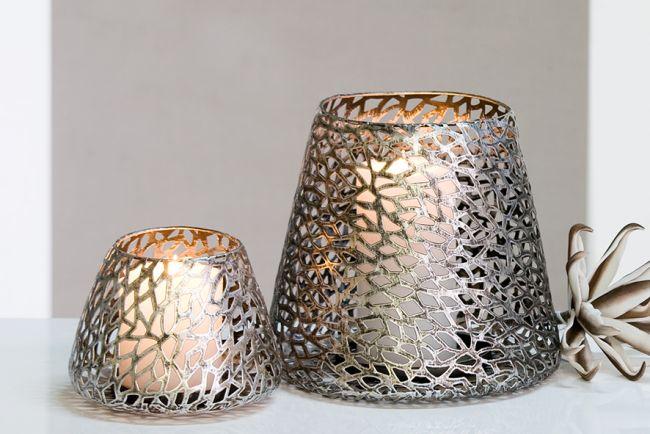 Windlicht purley aus metall 11 cm antik silber von casablanca wanduhren und dekoartikel f r - Wanduhren aus metall ...