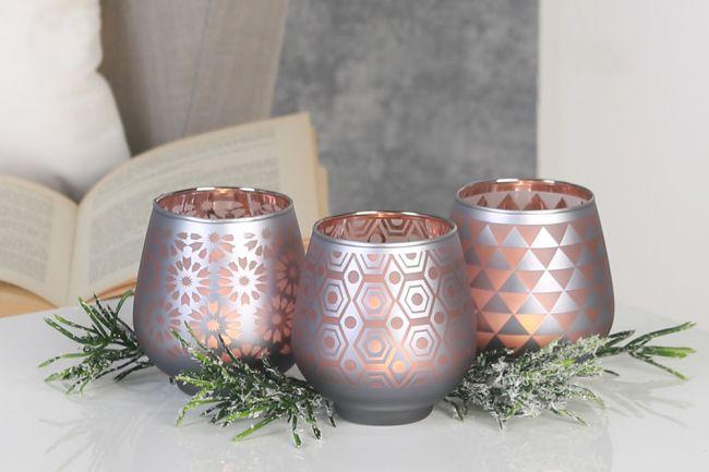 windlicht pattern aus glas rose satiniert mit grafischen dekoren 3er set von casablanca. Black Bedroom Furniture Sets. Home Design Ideas